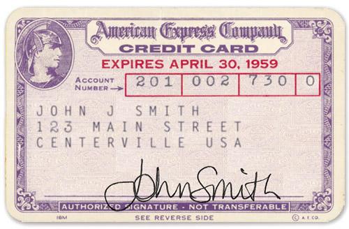 Karta kredytowa z lat 50-tych Żródło: Creditforum