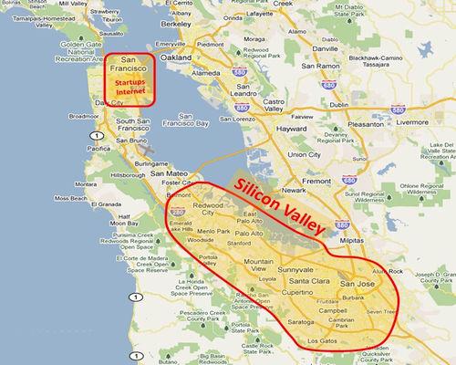 Źródło: expeditieaarde.blogspot.com. Lokalizacja Doliny Krzemowej w regionie Zatoki San Francisco.