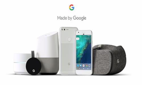 Źródło: google.com. W kolejności od lewej: Chromecast Ultra, Google Home, Google Pixel, Google Pixel XL i gogle do VR