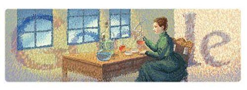 Google Doodle z okazji 144 urodzin Marii Curie Skłodowskiej.