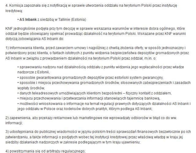 Warunki KNF-u, które musi spełnić estoński Inbank, jeżeli chce wejść na polski rynek