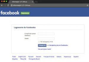 Strona imitująca tą od logowania do Facebooka. Tak hakerzy chcą wyłudzać nasze dane.