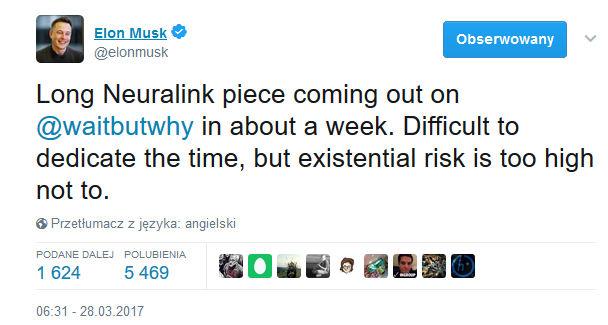 Elon Musk potwierdza swój udział w firmie Neuralink