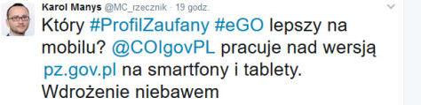 Rzecznik Ministerstwa Cyfryzacji, Karol Manys informuje na Twitterze o planach wdrożenia PZ na urządzenia mobilne.
