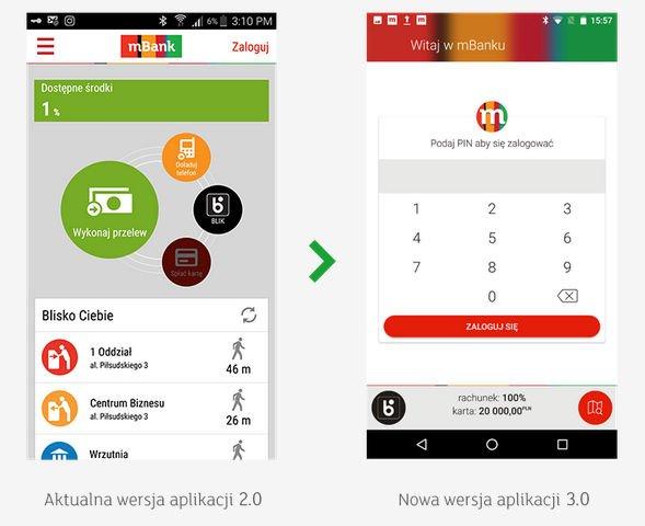 mBank 3.0 płatności smartfonem. Nowy ekran startowy