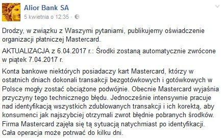 oświadczenie Alior Banku awaria Mastercard.