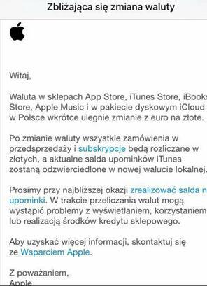 Złotówki w sklepach Apple.