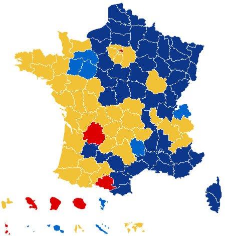 Pierwsza tura wyborów prezydenckich we Francji 2017 - mapa.