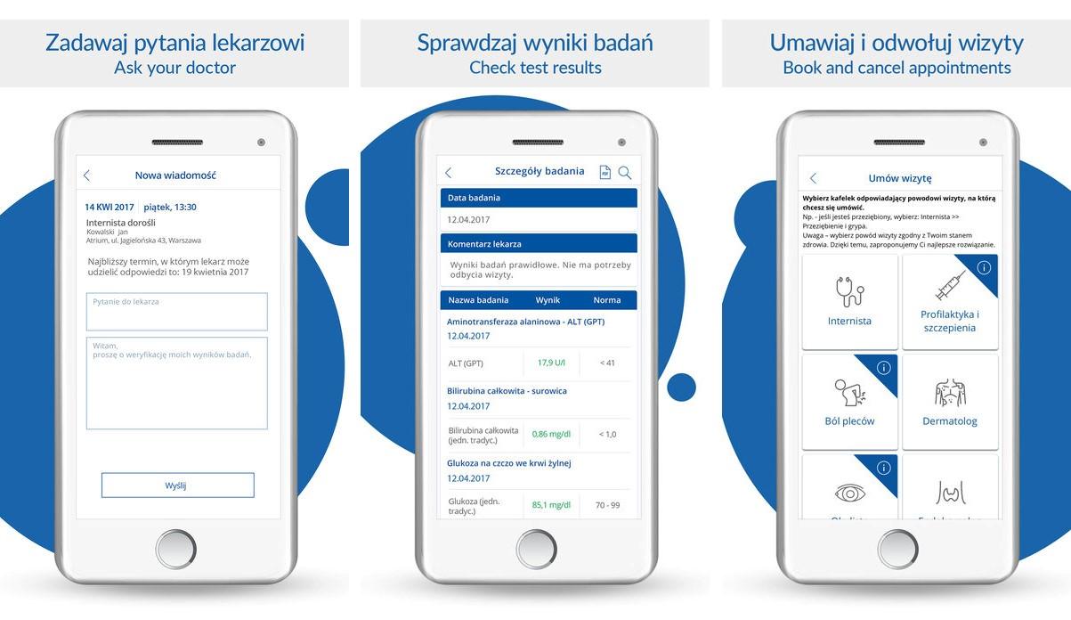 Medicover aplikacja z funkcją Touch ID