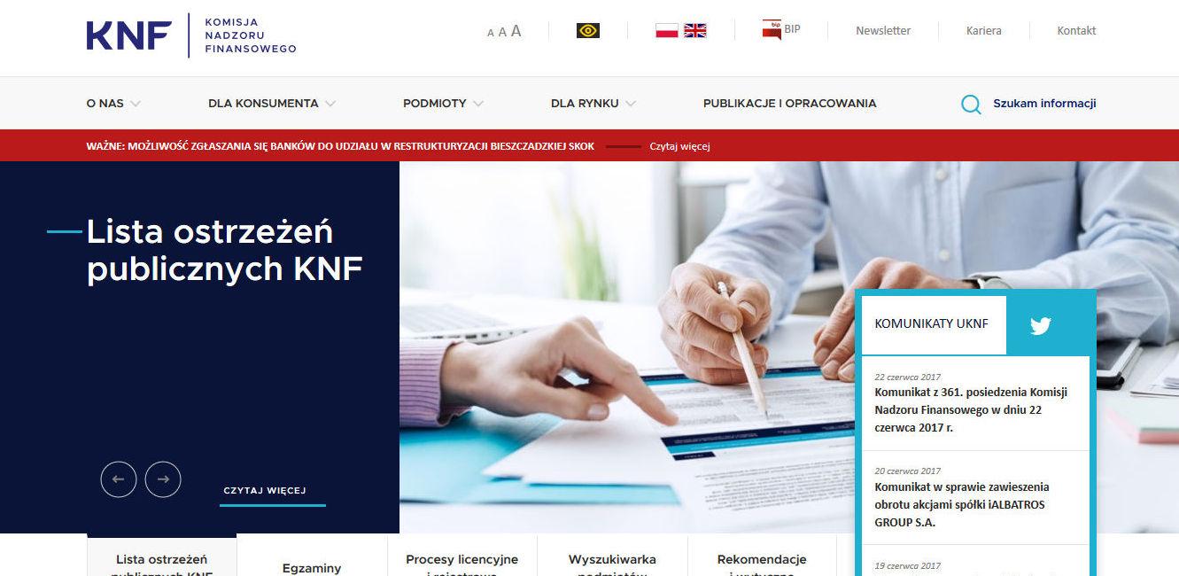 Nowa strona KNF-u w pełnej krasie.