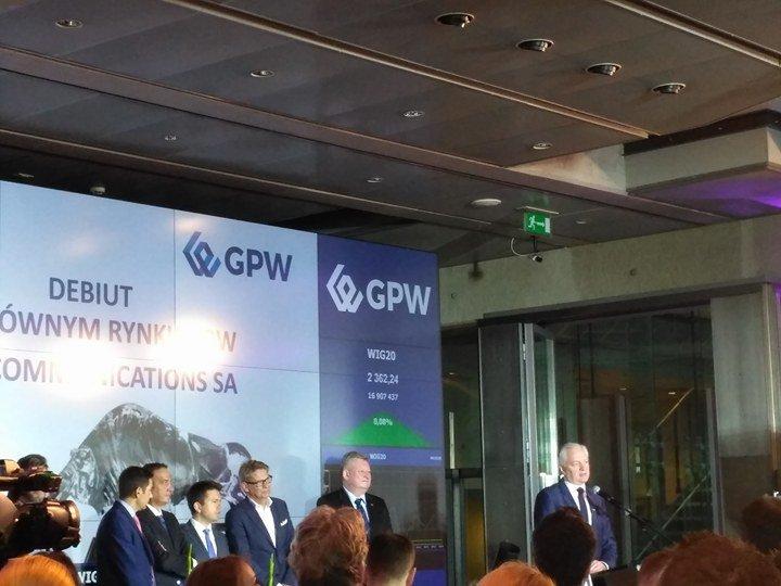 Debiut Play na GPW - Jarosław Gowin.