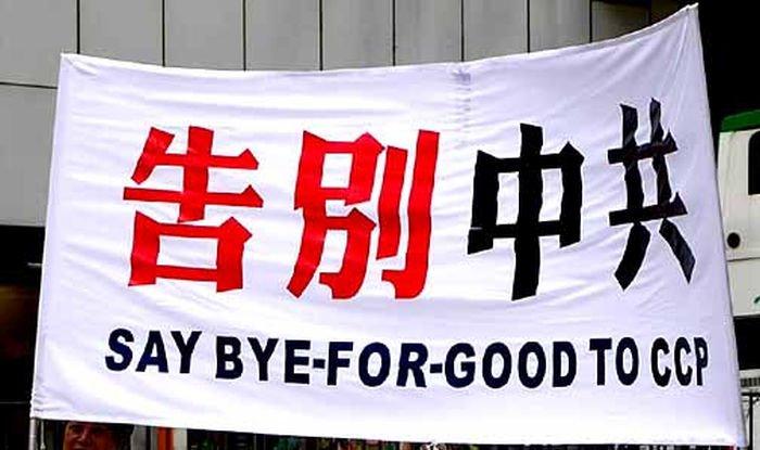 Antykomunistyczny baner podczas protestów w Chinach. Źródło: zonaeuropa.com