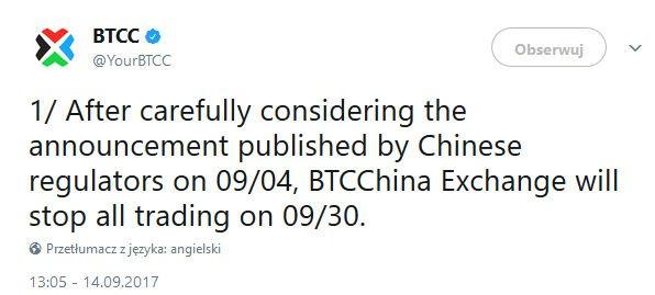 BTC China - zawieszenie handlu Bitcoinem.