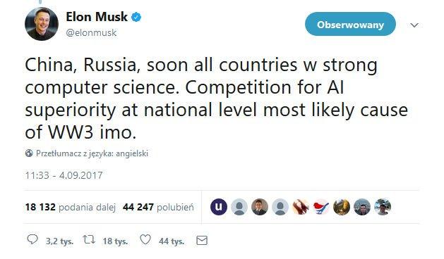 Elon Musk o Rosji i sztucznej inteligencji.
