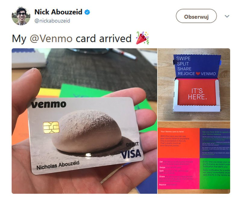 Karta płatnicza od Venmo.