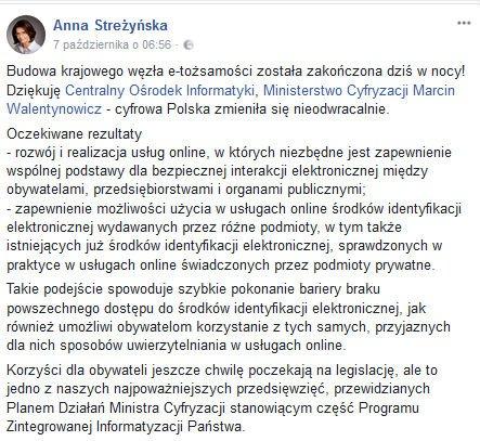 Krajowy węzeł e-tożsamości Anna Streżyńska