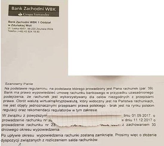 BZ WBK zamknął konto za obracanie kryptowalutami