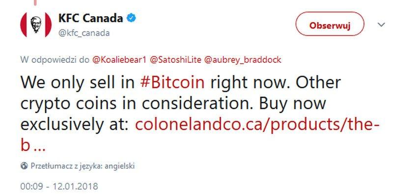KFC akceptuje płatności Bitcoinem
