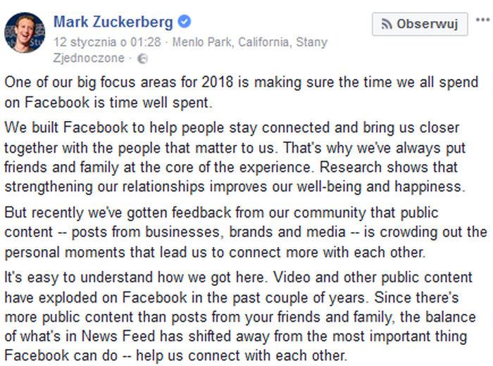 Facebook obcina zasięgi i promuje posty od znajomych