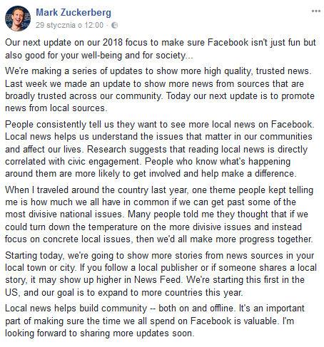 Mark Zuckerberg zapowiada zmiany na Facebooku. Będzie więcej loklanych wiadomości.