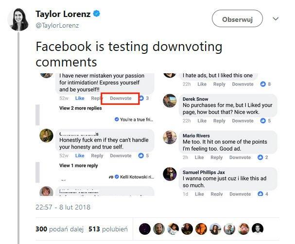 Facebook testuje przycisk nie lubię tego