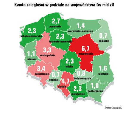 Kwota zaległości podzielona na województwa