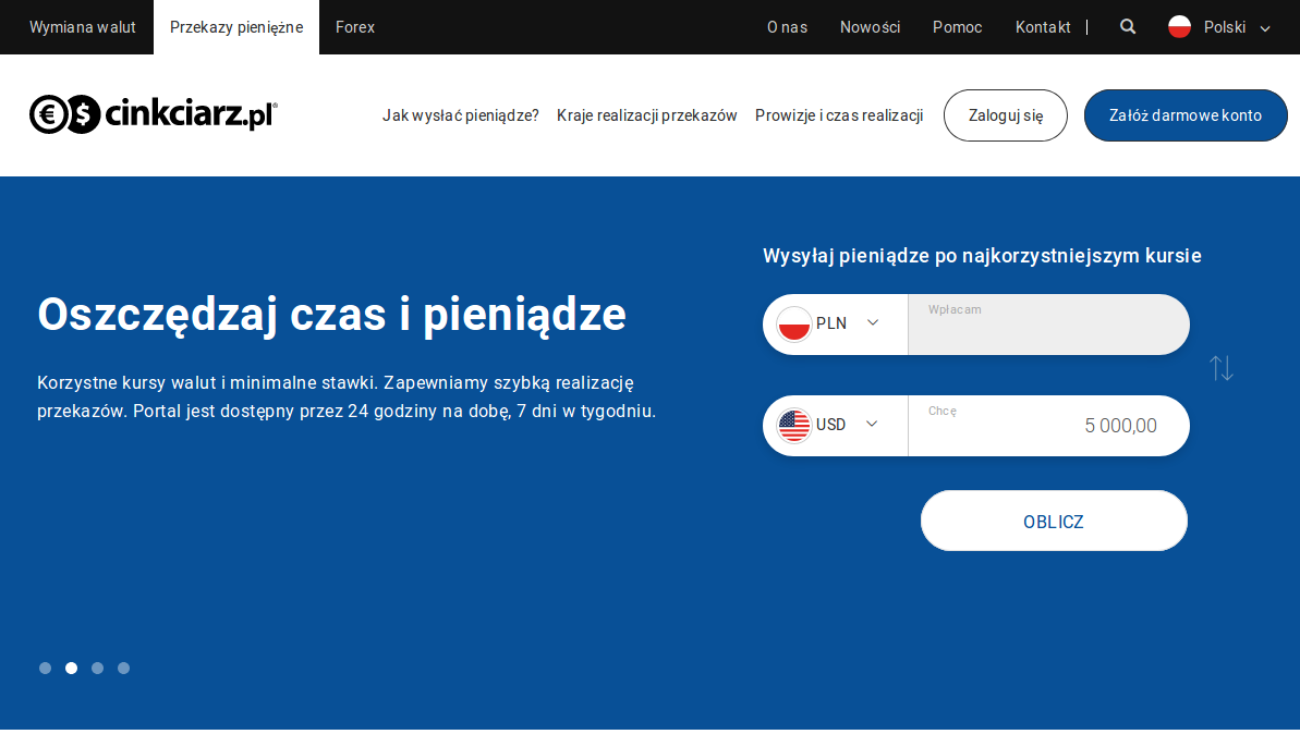Nowa usługa na portalu Cinkciarz