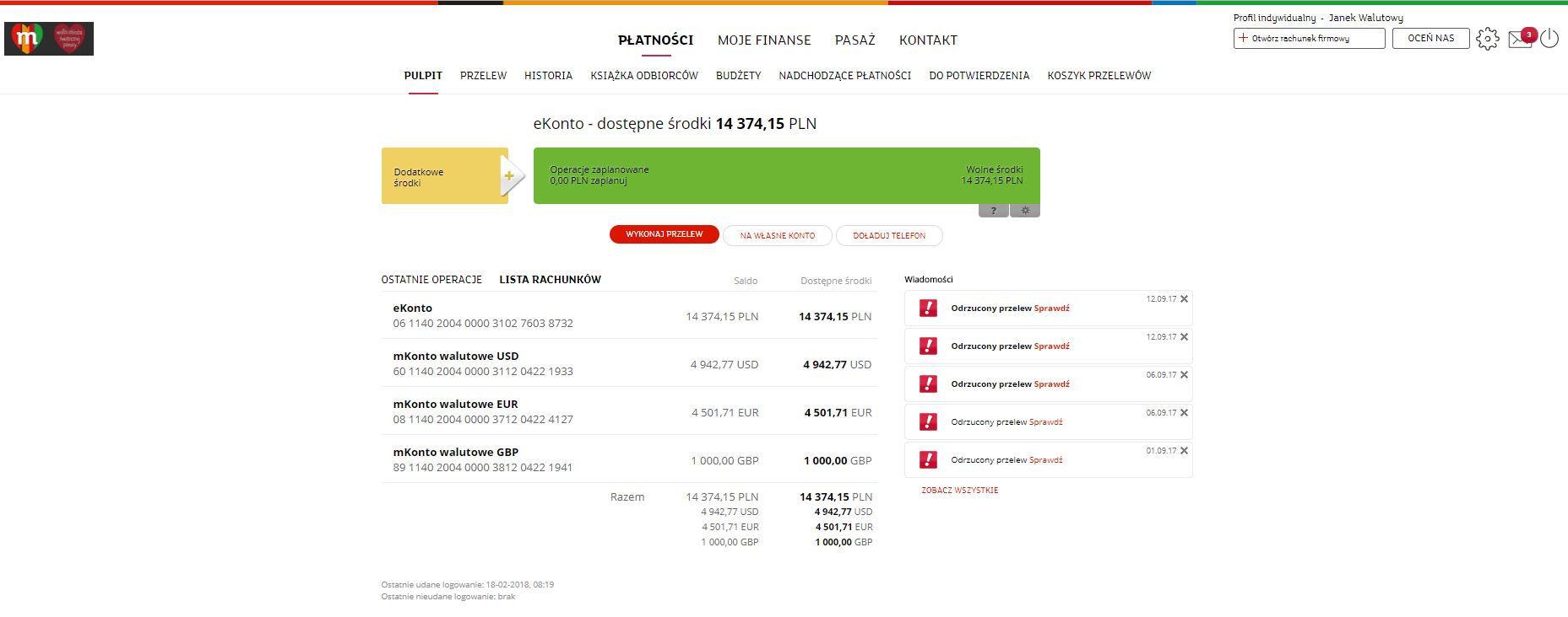 nowy serwis transakcyjny mBanku