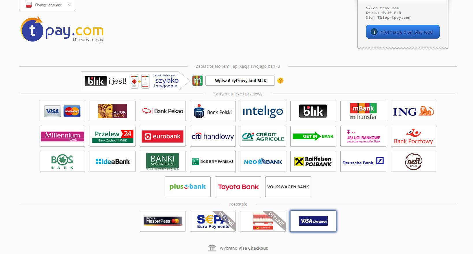 Visa Checkout dostępna dla wszystkich merchantów Tpay.com