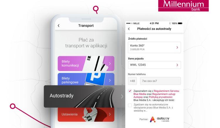 Automatyczna płatność za autostradę w aplikacji Banku Millennium