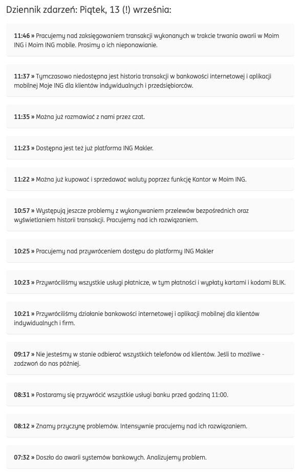 Dziennik Zdarzeń - awaria ING Banku Śląskiego