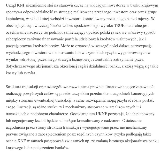 Jacek Jastrzębski o sprzedaży banku w serwisie LinkedIn