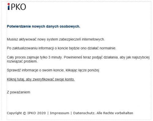 PKO BP ostrzega przed fałszywymi mailami wysyłanymi przez oszustów